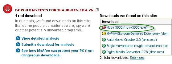 Website của Báo Thanh Niên chứa phần mềm Nova 3000 nên bị McAfee cảnh báo