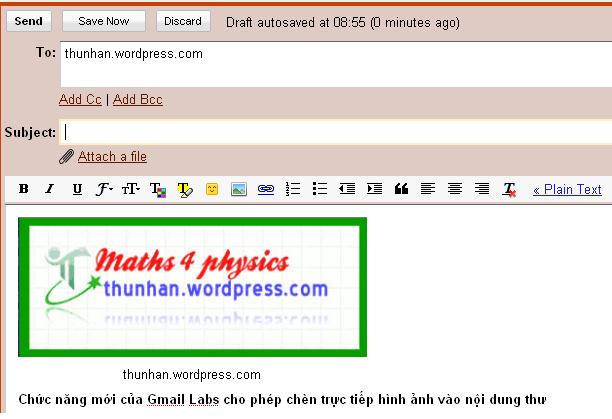 M4Ps đã kích hoạt và sử dụng thử chức năng Insert Image trong Gmail
